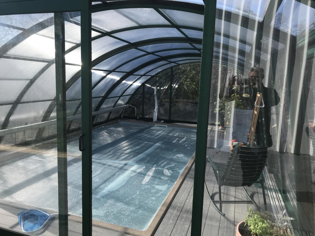 pool och pooltak Falk´s trädgårdsmiljö i Tanumshede